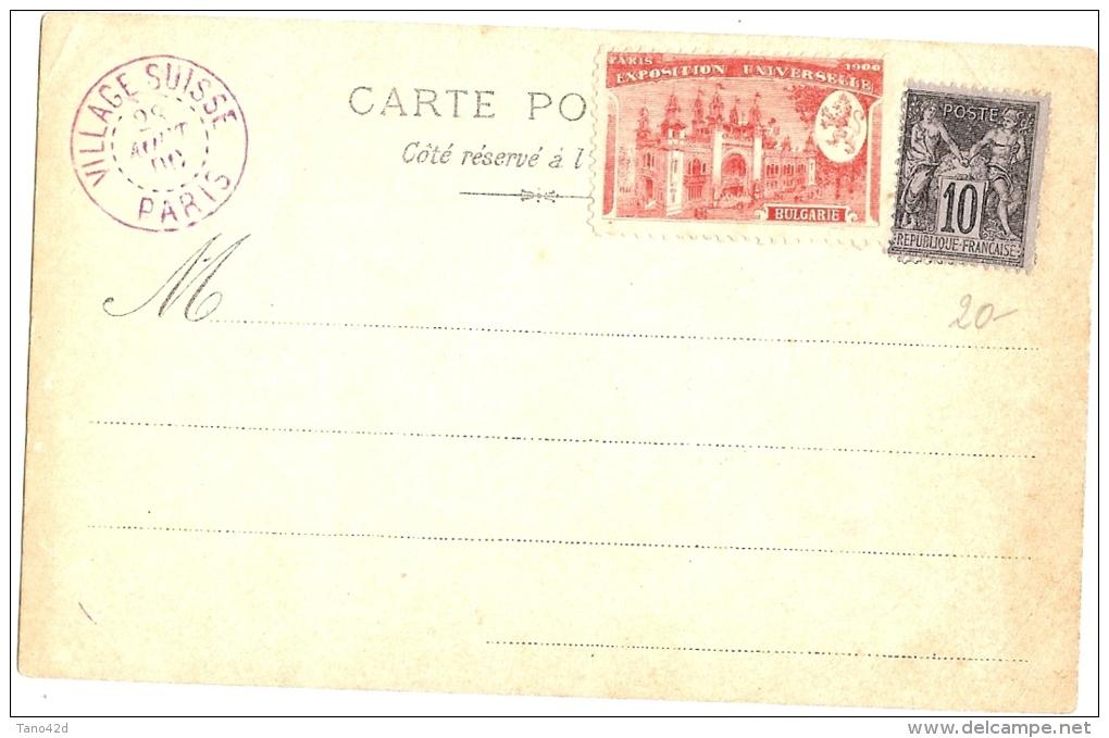 LPU13/B - EXPOSITION UNIVERSELLE PARIS 1900 VILLAGE SUISSE +TP SAGE 10c + VIGNETTE SOUVENIR - 1900 – Paris (Frankreich)
