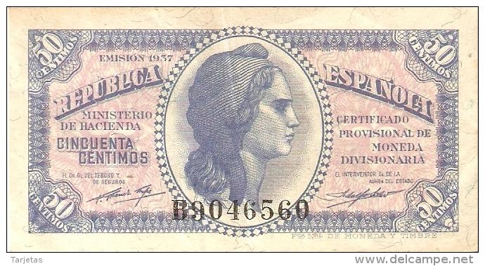 BILLETE DE ESPAÑA DE 50 CTS DEL AÑO 1937 BC LETRA B (BANKNOTE) - [ 2] 1931-1936 : República