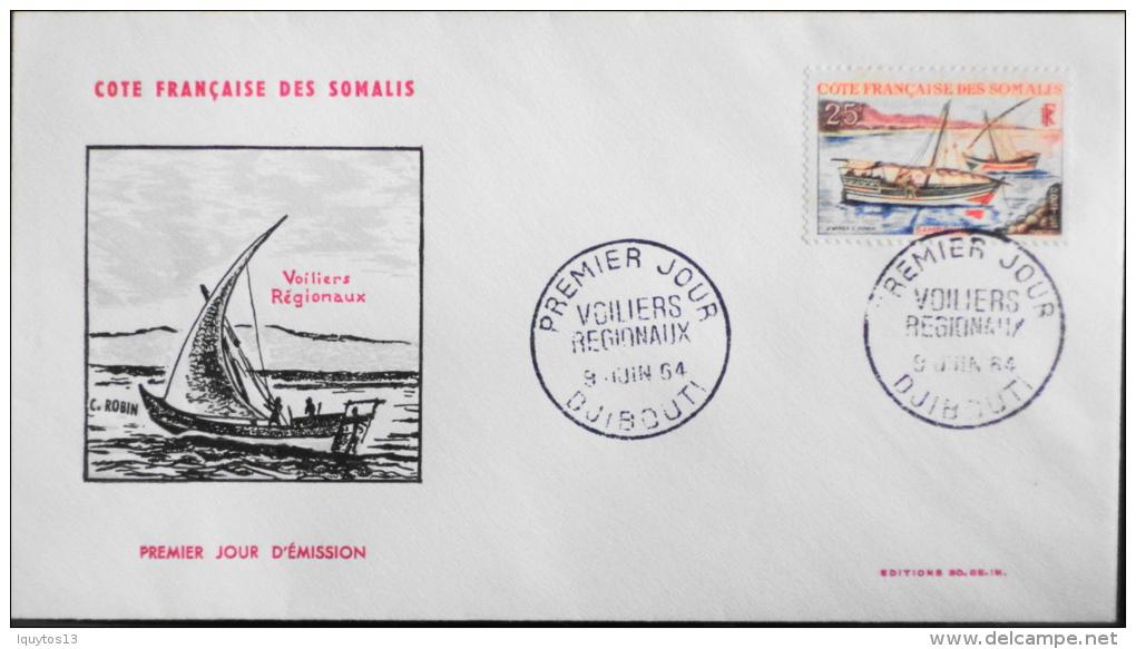 1 ENVELOPPE 1er JOUR COTE FRANCAISE Des SOMALIS  DJIBOUTI  Le 9 Juin 1964  T.b.e - Lettres & Documents