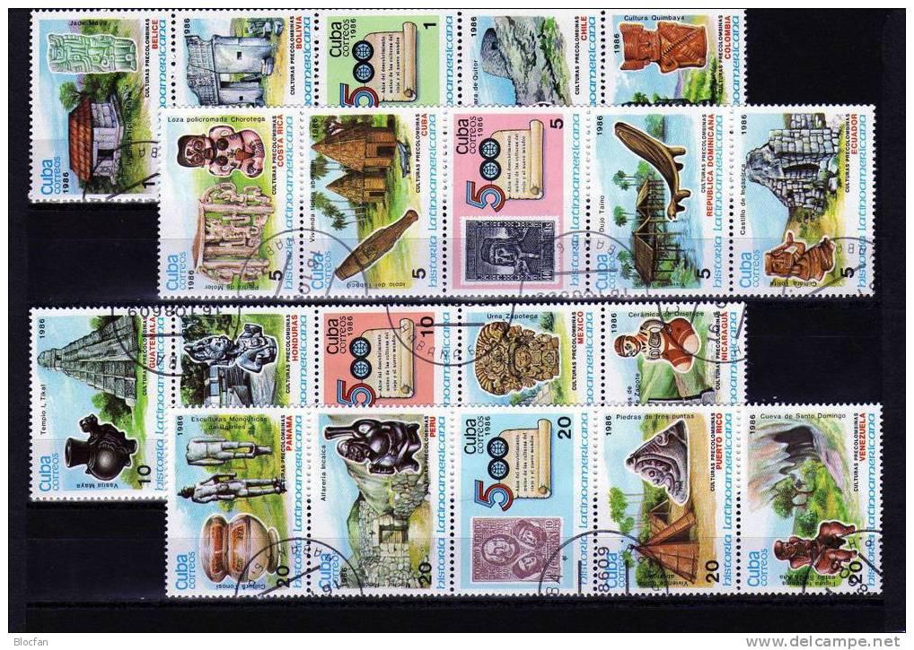 Historische Motive 500 Jahre Entdeckung Amerikas 1986 Cuba 3042/61 Plus 4xZD O 12€ Stamp On Stamp Se-tenant Of Kuba - Cuba