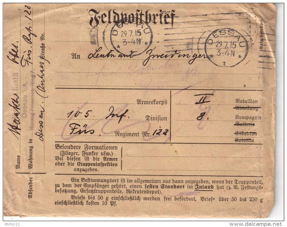Deutsches Reich Feldpostbrief Von 1915 Mit Inhalt - 1914-18