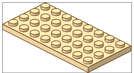 Lego 3035 Plaque - Plat 4 X 8 - Tan / Beige - Lego System
