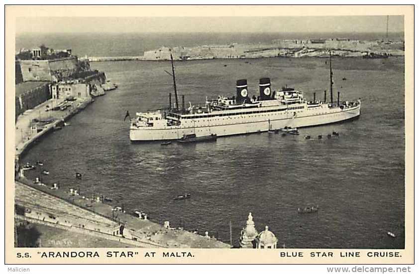 """Pays Divers -malte   Ref 724 - S.s. """"arandora Star """" A Malte - Blue Star Line Cruise - Thème Bateaux - Carte Bon état - - Malte"""