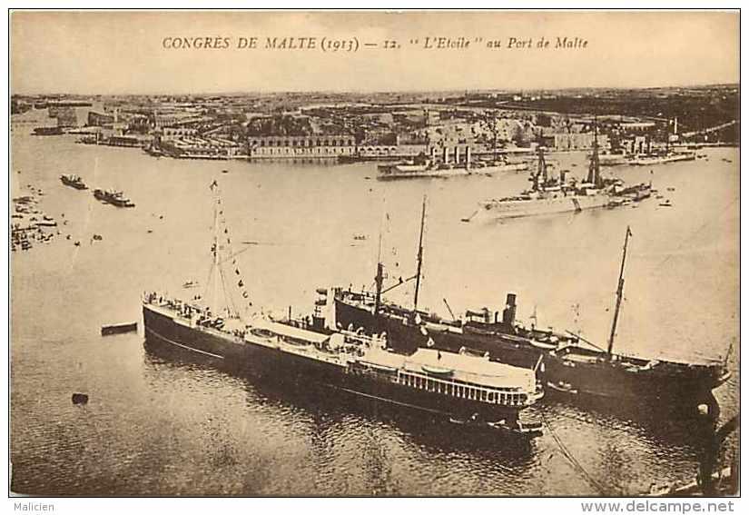 """Pays Divers -malte -  Ref 723 -congrès De Malte (1913) -""""l´étoile"""" Au Port De Malte  - Thème Bateaux - Carte Bon état - - Malte"""