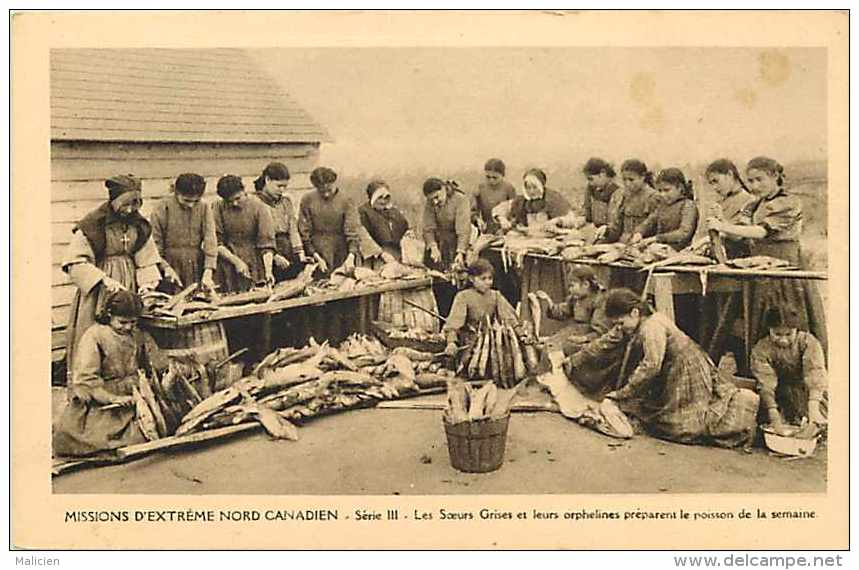 Pays Divers - Canada -ref 615  - Missions Extrême Nord Canadien   La Préparation Du Poisson - Carte Bon état - - Canada