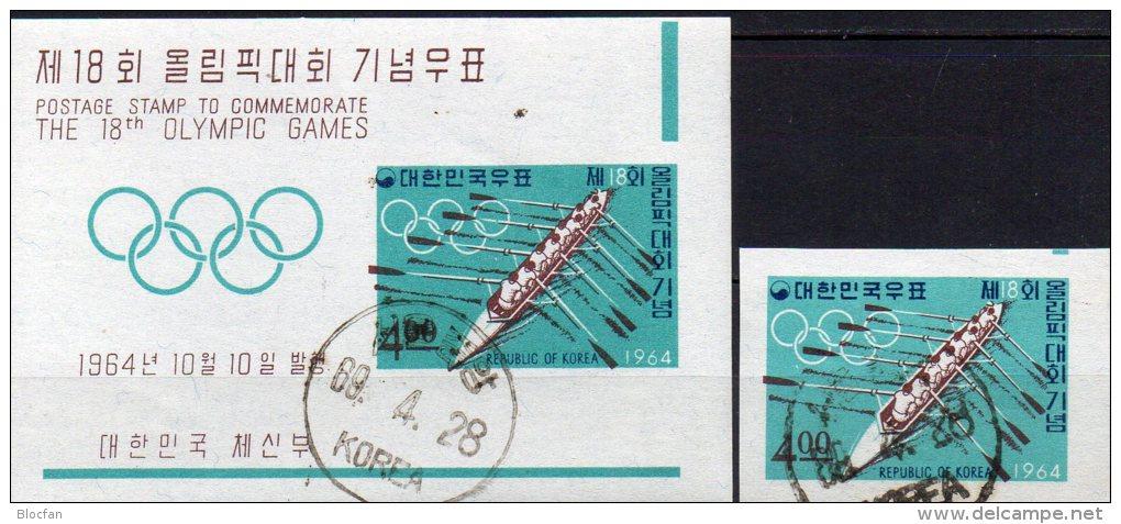 Olympiade In Tokio 1964 Korea 466+Block 198 O 11€ Rudern-Achter Foglietto Bf Sport M/s Bloc Olympic Sheet Of South Corea - Summer 1964: Tokyo