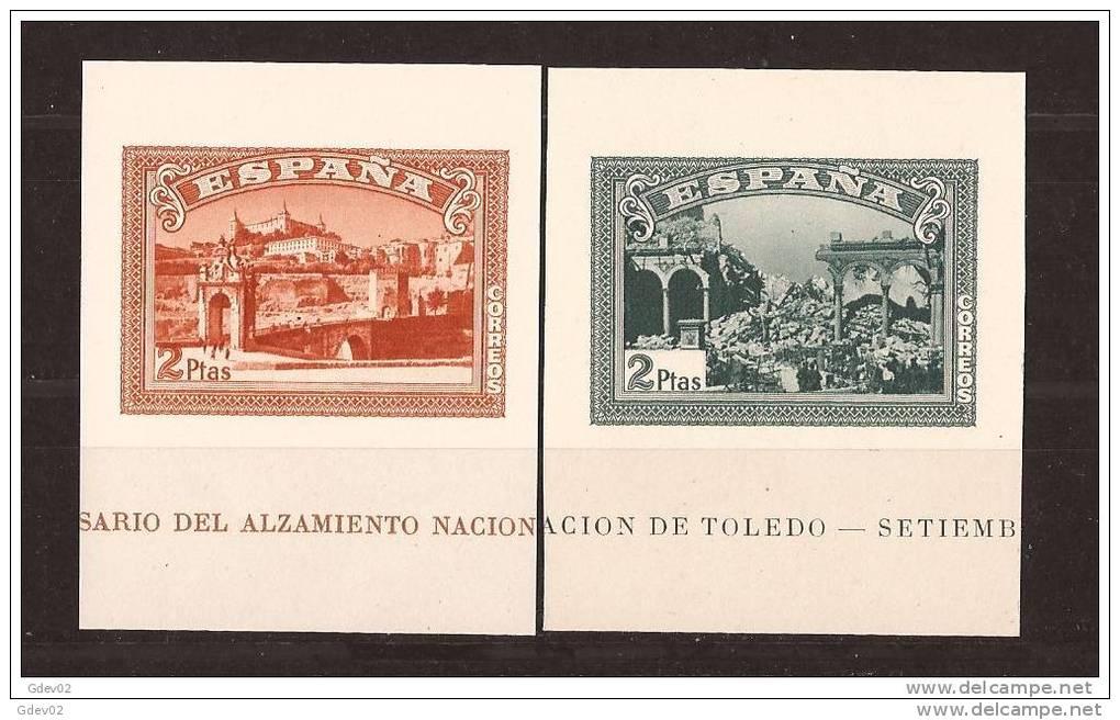 ES838-L4006TARO.España Spain Espagne SELLOS HOJAS SIN DENTAR DEL ALZAMIENTO 1937 (Edsh838/9**)sin Charnela LUJO RARO - Arquitectura