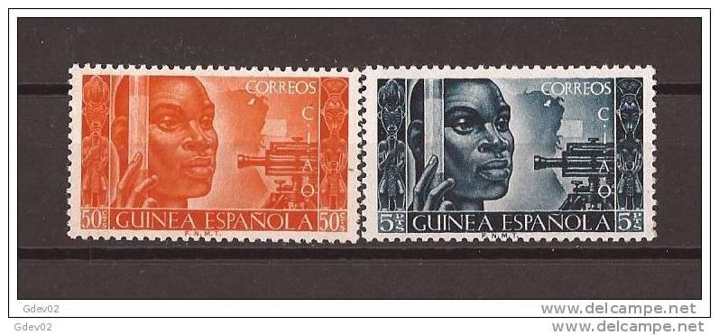 GUI308STV-LFT4019TCSC.Guinea Guinee GUINEA ESPAÑOLA CONFERENCIA INTER AFRICANISTAS OCIDENTAL. 1951( Ed 308/9**)  LUJO - Culturas