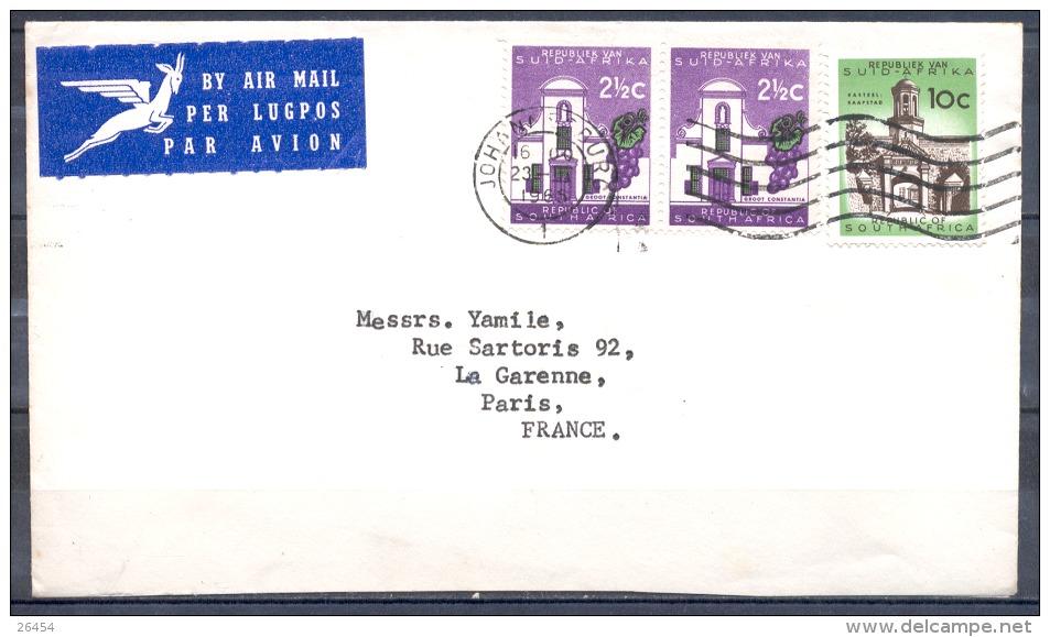 JOHANNESBURG  Lettre  Annee 1965    PAR AVION   Affranchissement De 3 Timbres - Afrique Du Sud (1961-...)