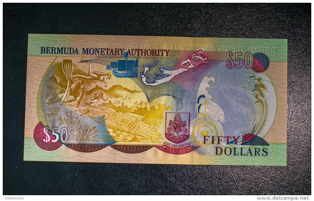50$ Dollars Bermuda 2003, Coronation Type, Au UNC Note, Queen Elizabeth II - Bermudes