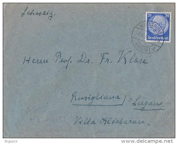 DR Brief EF Minr.522 Karlsruhe 7.10.42 Gel. In Schweiz Zensur - Deutschland