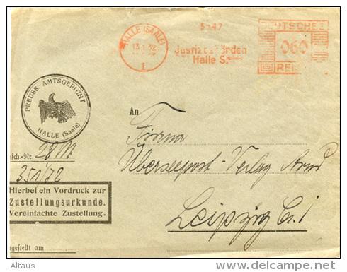 N674 Zustellungsurkunde DR St. AFS Halle N. Leipzig - Allemagne