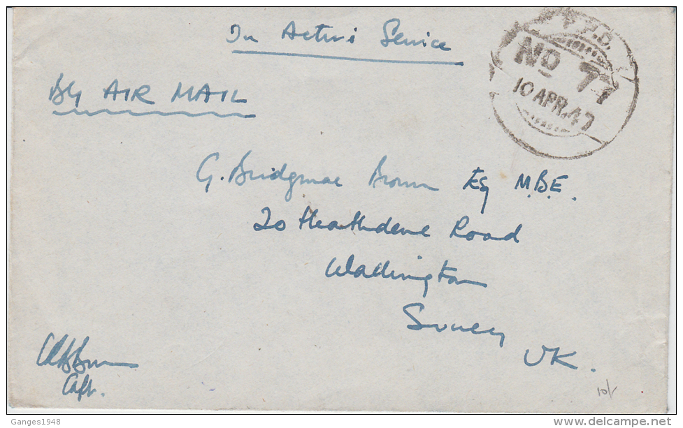 Japan 10 APR 1947  Indian FPO NO 77 Cover To UK From  Sea Plane Base 15 Miles From Tokushima # 22444d Inde Indien India - 1926-89 Emperor Hirohito (Showa Era)