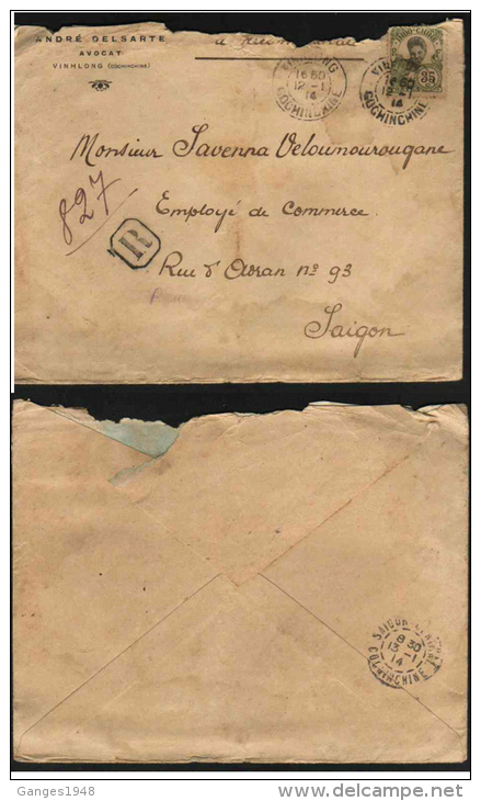 Indochina  1914  Vinhlon  Registered Cover To Saigon   # 50676 Inde  India France - Indochina (1889-1945)