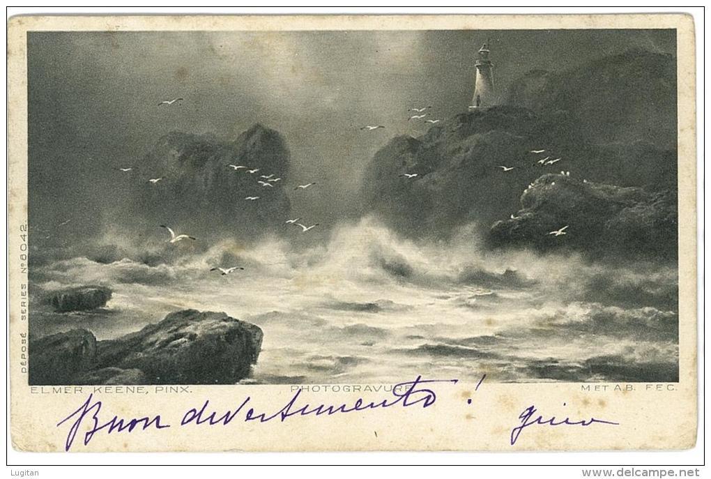 CARTOLINA  - PHOTOGRAVURE - MAREGGIATA FARO LEUCHTTURM  - VIAGGIATA  NEL 1905 - Lighthouses