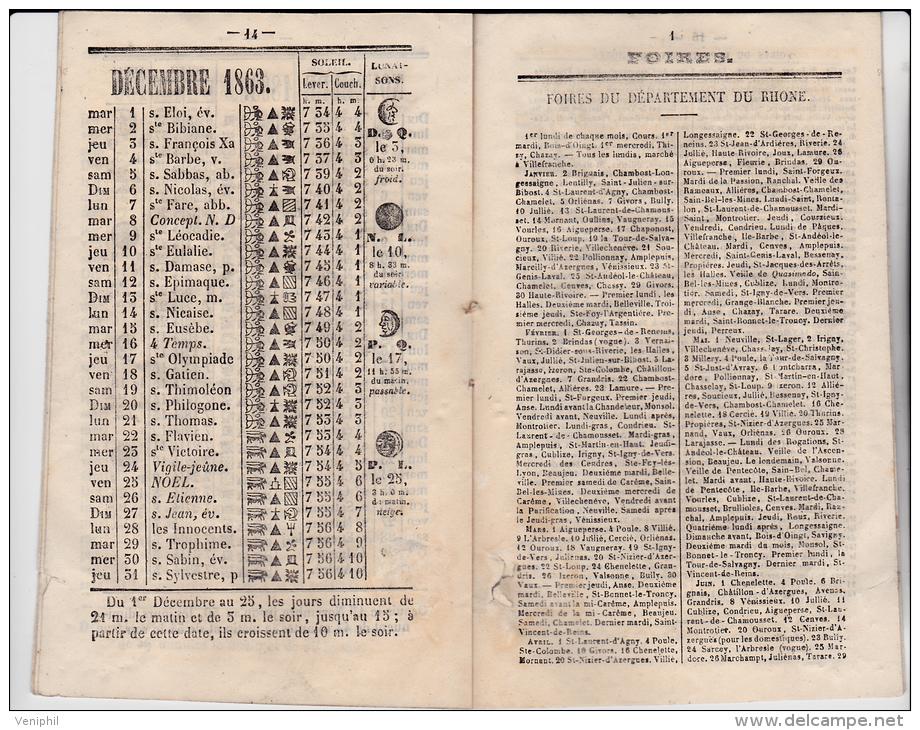 CALENDRIER CARNET PETIT FORMAT -17X10 CM ANNEE 1863 - Calendari