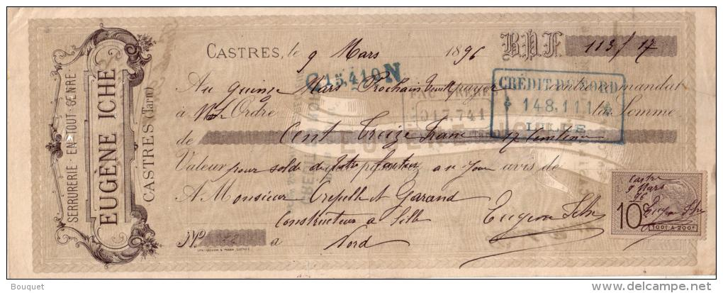 TARN - CASTRES - SERRURERIE EN TOUT GENRE - EUGENE ICHE - 1896 - Bills Of Exchange