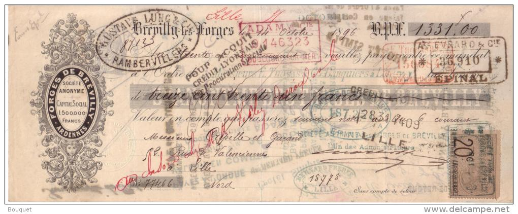 ARDENNES - BREVILLY LES FORGES - FORGES - 1896 - Bills Of Exchange