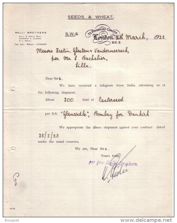 ROYAUME UNI - LONDON - LONDRES - SEEDS & WHEAT - SEMENCES DE BLE - RICIN -  LETTRE - 1923 - Royaume-Uni