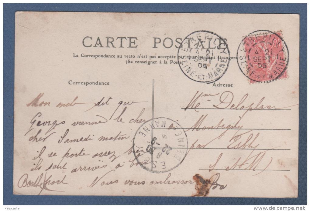 77 SEINE & MARNE - CP ANIMEE COLORISEE ETREPILLY - LE CHATEAU DE LONGEVILLIER - LES BORDS DE LA THERVANNE - EDIT. JARRY - Other Municipalities
