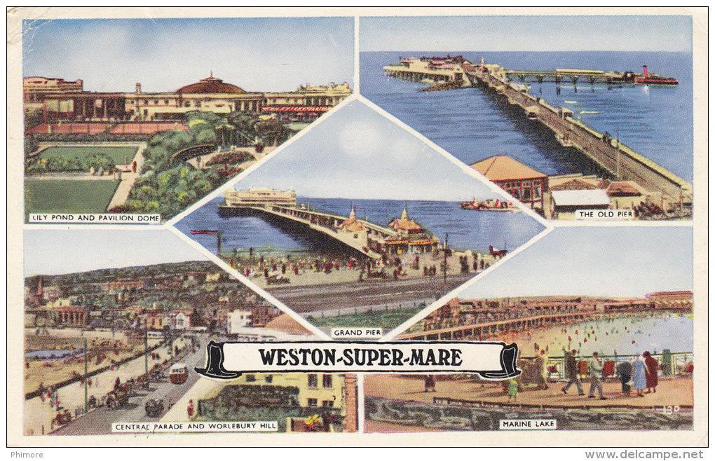 Ph-CPSM Angleterre Weston Super Mare (Kent) Multivues, Petit Format - Weston-Super-Mare