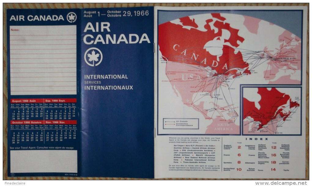 Horaires Air Canada Du 1er Août Au 29 Octobre 1966 - 21 Pages - Monde