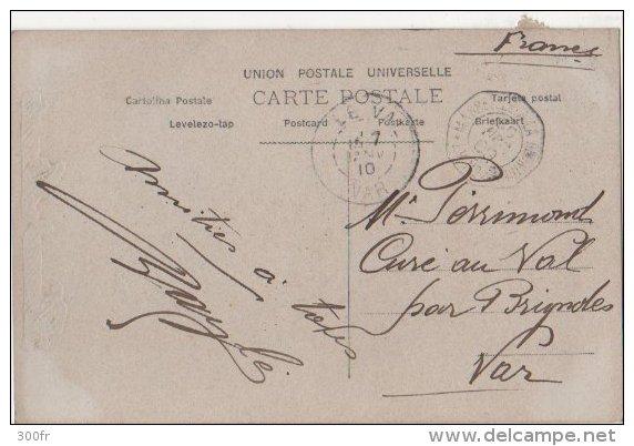 France CP Fantasie Bonne Année  ObliterAtion Semeuse  1910 LE VAL VAR  MARSEILLE A LA REUNION LV No 5 - Nouvel An