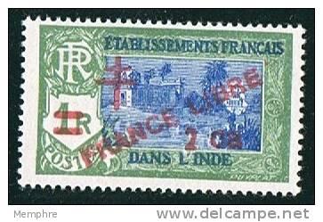INDE ßurcharge «Croix De Lorraine Et FRANCE LIBRE» 2ca Sur 1R   Maury  249** - Indien (1892-1954)