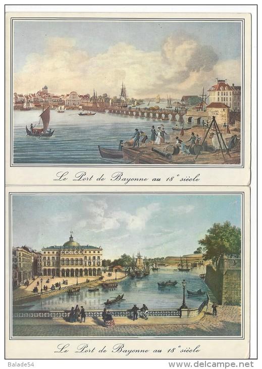 2 CPM - BAYONNE (63) Reproduction De Vieilles Gravures Le Port Avec Le Théatre Fortifications / Le Pont De Bois... - Bayonne