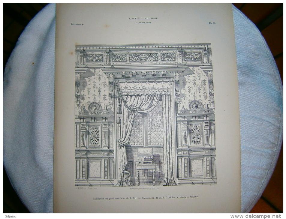 PLANCHE L ART ET L INDUSTRIE DECORATION DE PAROI MURALE ET DE FENETRE  ANNEE 1886 - Technical Plans