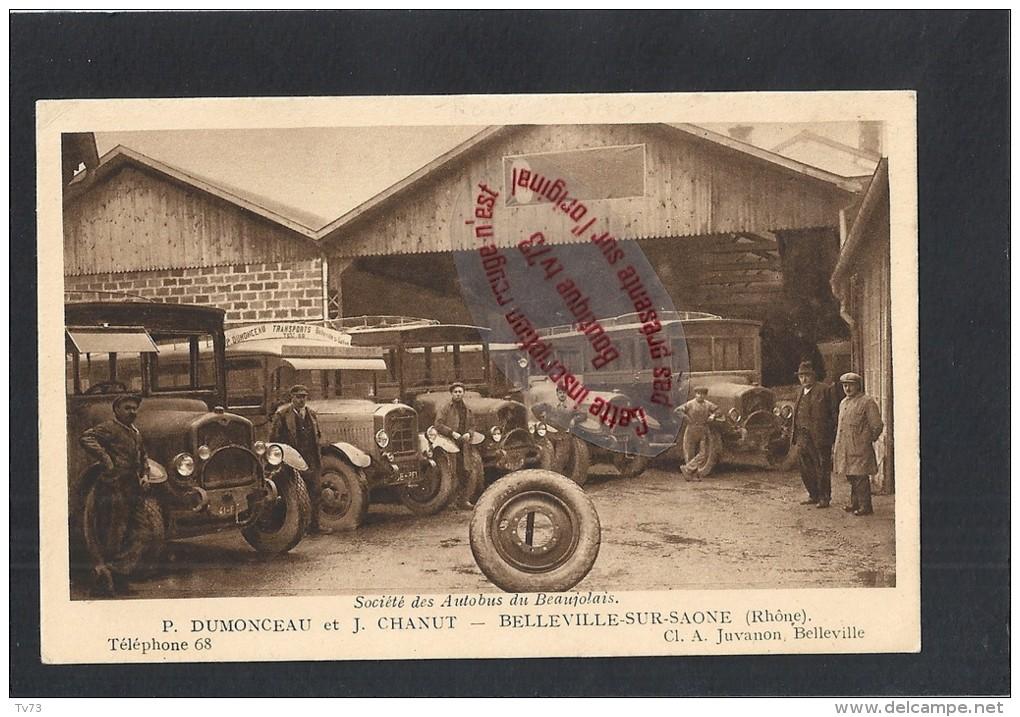 CpJ677 - BELLEVILLE Sur SAONE - Société Des Autobus Du Beaujolais - Garrage Dumonceau Chanut - (69 - Rhone) - Belleville Sur Saone