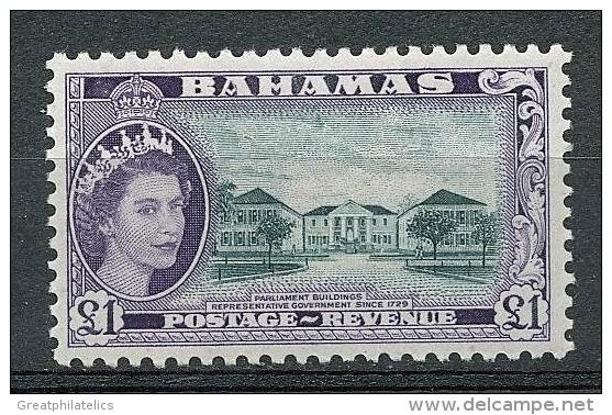 BAHAMAS 1953 QUEEN ELIZABETH 1.00£ PARLIAMENT SC# 173 VF OG MLH (NODEL0188) - 1859-1963 Crown Colony