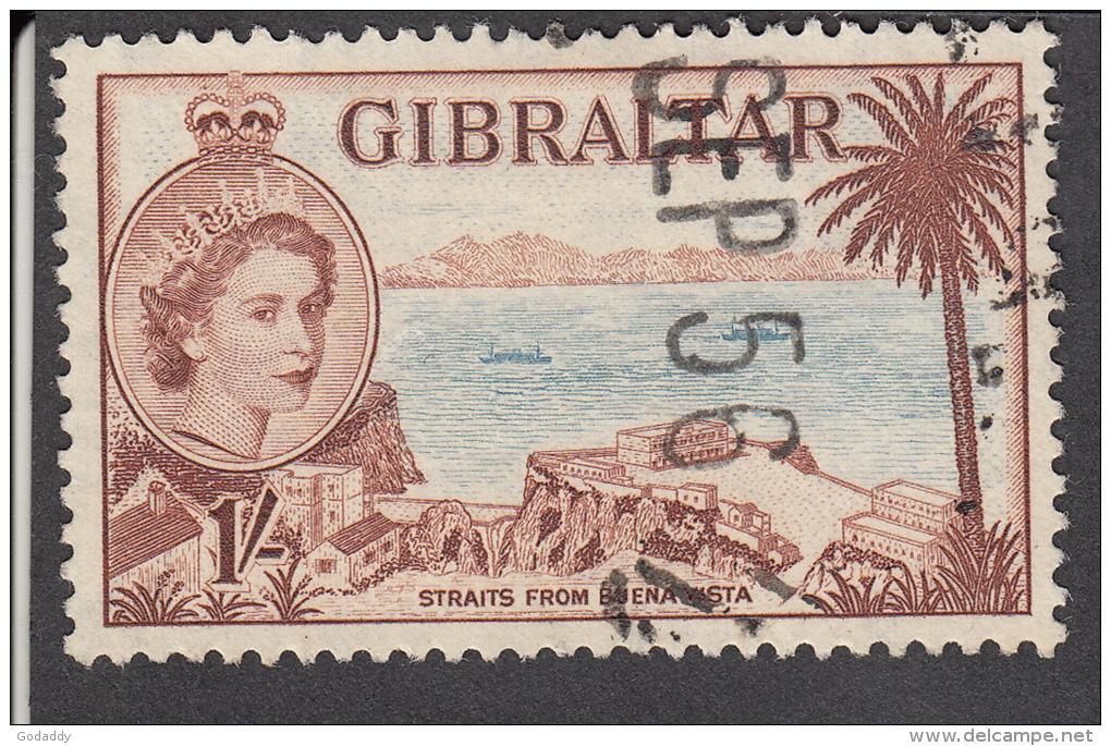 Gibraltar 1953  1/-  SG154  Used - Gibraltar