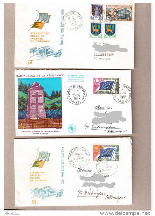 Frankreich Conseil De L`europe, Europarat CEPT 1964/65 3 Gelaufene Briefe - Briefe U. Dokumente
