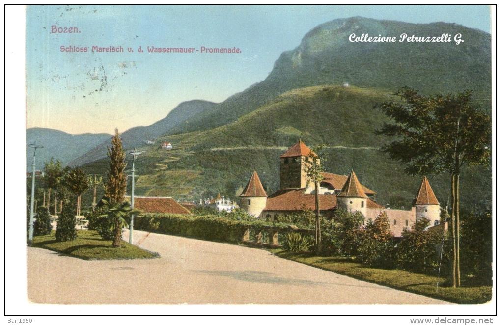 "Cartolina D´epoca (Formato Piccolo ) "" Bozen  -  Schloss Maretsch V.d.Wassermawer - Promenade "" - Bolzano (Bozen)"