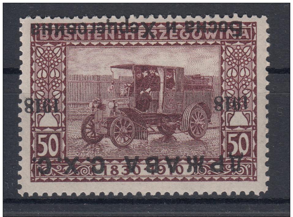 Yugoslavia 1918 SHS Bosnia 50h OVERPRINT INVERTED - 1919-1929 Regno Dei Serbi, Croati E Sloveni