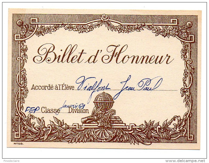 certificat d honneur accord l l ve vialfont jean paul fep janvier 61. Black Bedroom Furniture Sets. Home Design Ideas