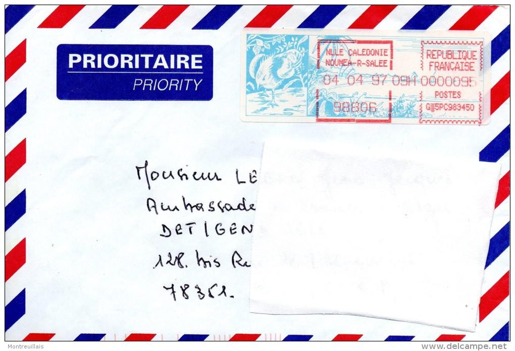 Enveloppe Prioritaire,  Nouvelle Calédonie, NOUMEA, Rivière Salée, Machine A Affranchir, Cagou, De 1997 - Neukaledonien