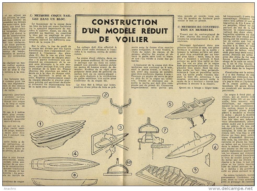 BRICOLUS BRICOLAGE N°36 Août 1950 /  VOILIER Modèle Réduit Voir Détails Et Sommaire - Other
