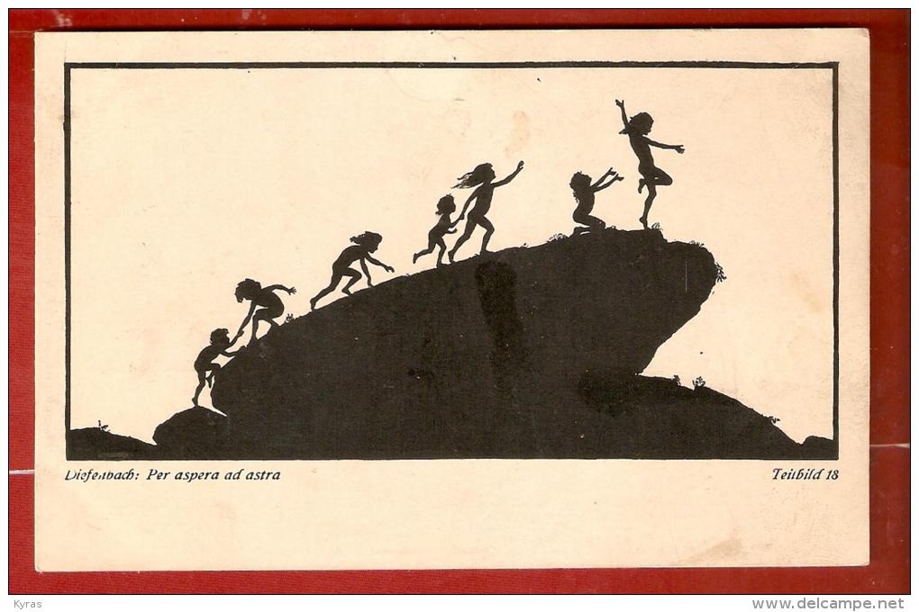 SILHOUETTES .DIEFENBACH : PER ASPERA AD ASTRA . Teübild 18 . Groupe D' Enfants Escaladant Un Rocher - Silhouettes