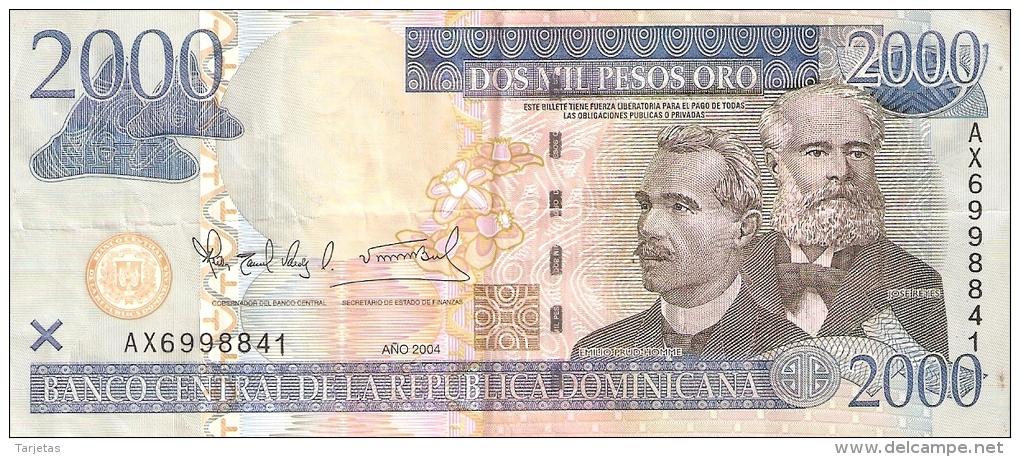 BILLETE DE REP. DOMINICANA DE 2000 PESOS ORO DEL AÑO 2004 SERIE AX (BANKNOTE) MUY RARO - República Dominicana