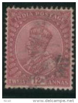 INDIA 1911 12a Claret KG V SG 184 U EE66 - 1902-11 King Edward VII
