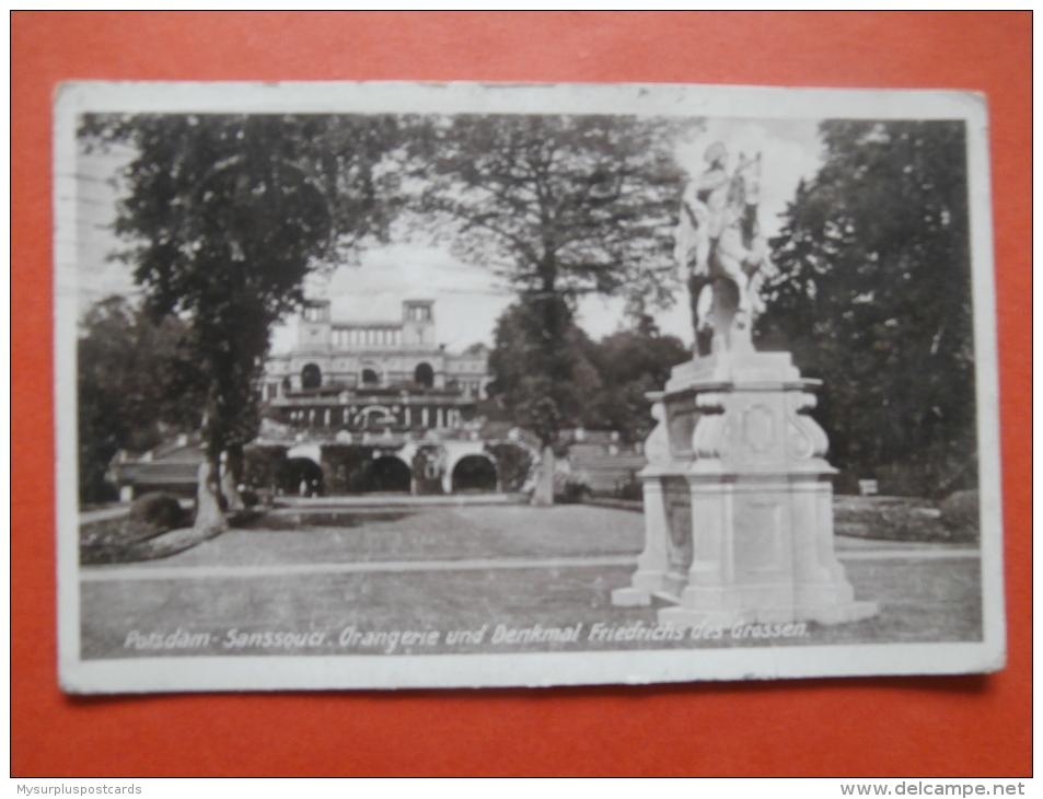27698 PC: GERMANY: BRANDENBURG: : Potsdam- Sanssouci. Orangerie Und Denkmal Friedrichs Des Grossen. (Postmark 1929). - Potsdam