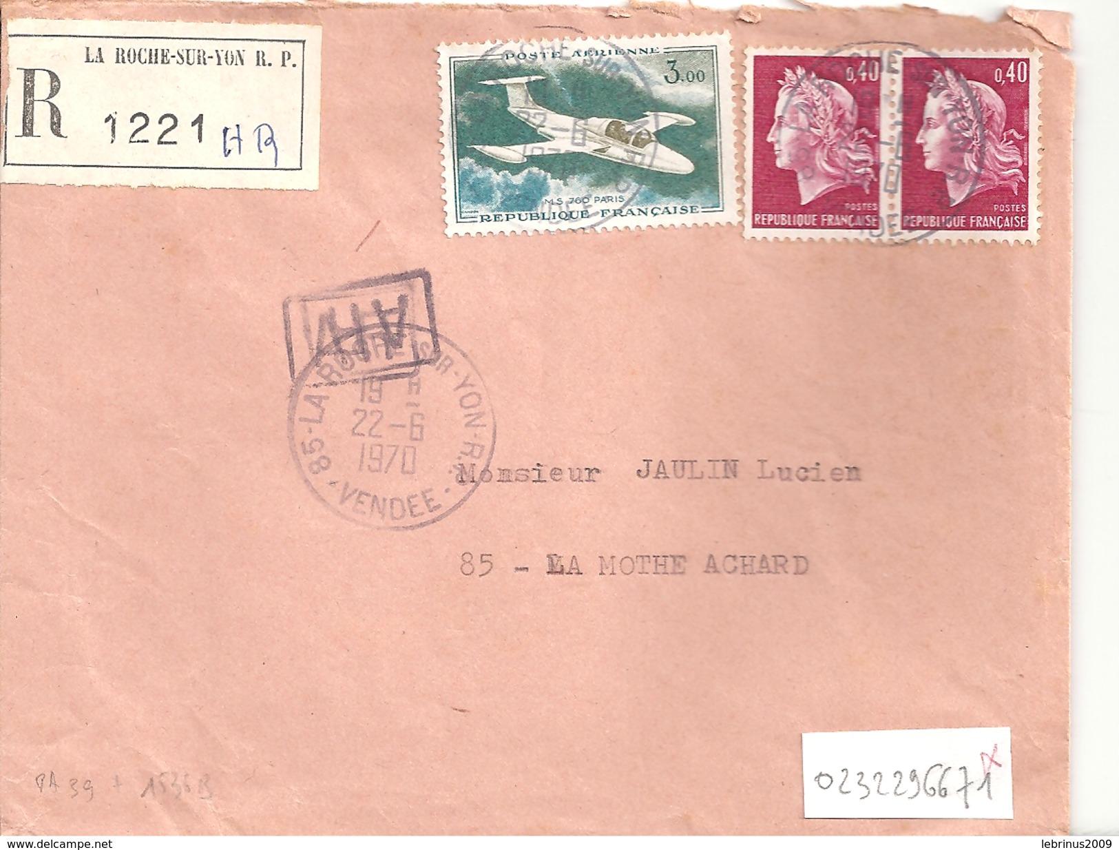 Lettre Recommandée De 1970 - Timbres  PA N°39 + N°1536B - Marcophilie (Lettres)