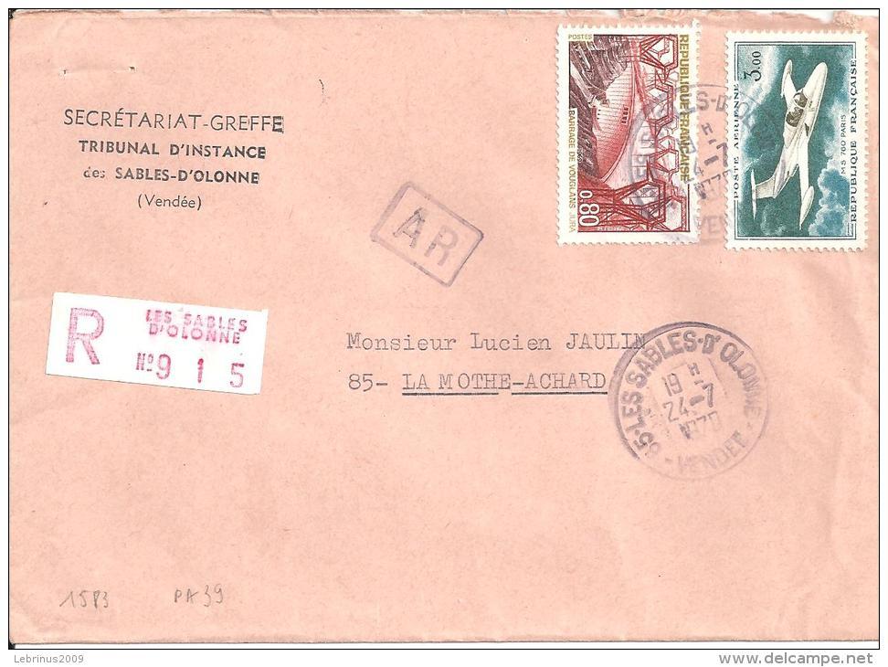 Lettre Recommandée De 1970 - Timbres  PA N°39 + N°1583 - 1961-....