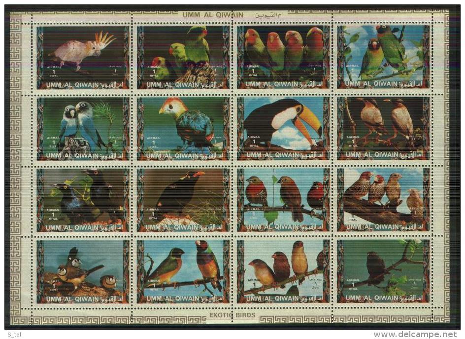 UMM Al QIWAIT  Birds Sheetlet Of 16 Stamps   MNH - Birds