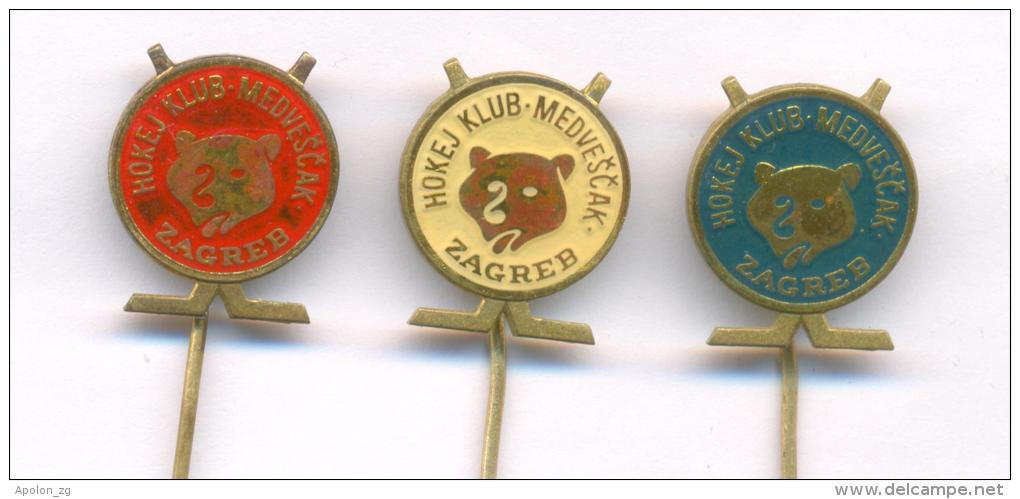 """Croatia Ice Hockey Club HK """"Medvescak"""" Zagreb, Set Of 3 Different Pins. Old Pins From 1970th. - Andere"""