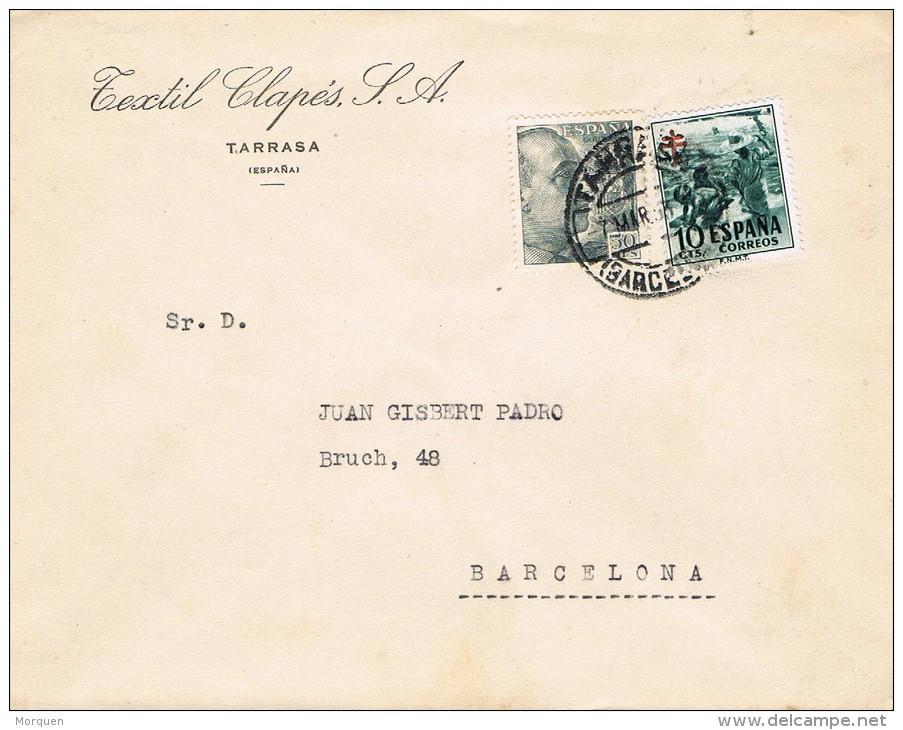 4749. Carta TARRASA (Barcelona) 1953. Pro Tuberulosos - 1931-Hoy: 2ª República - ... Juan Carlos I
