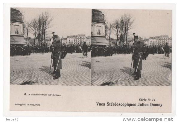 Vues Stéréoscopiques Julien Damoy - Le Tambour Major (46e De Ligne) - Stereoscope Cards