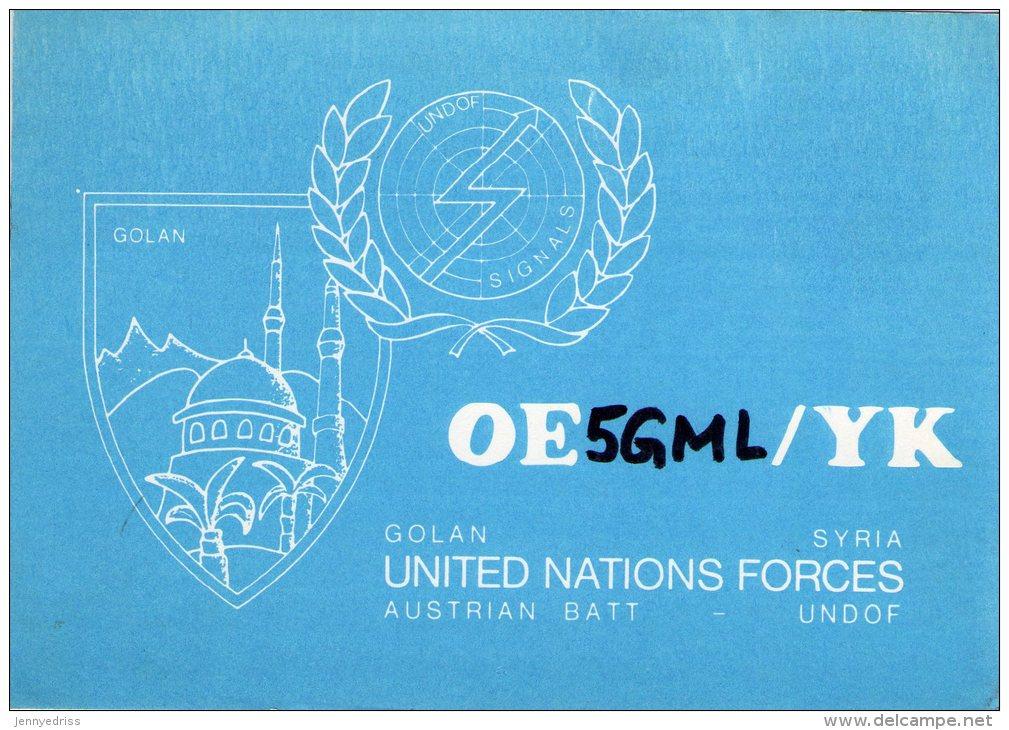 GOLAN , Syria , United Nations Forces , UNDOF  ,  QSL  , Radioamatori * - Siria